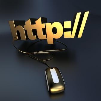 Http: // aangesloten op een computermuis in goud