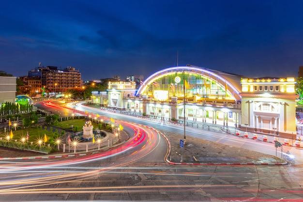 Hua lamphong treinstation 's nachts