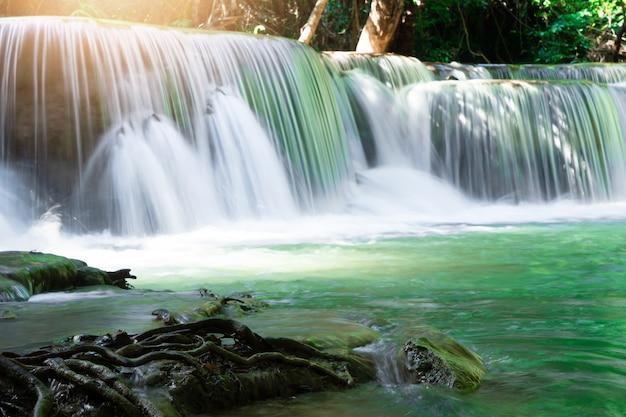 Huai mae khamin waterfall in kanchanaburi in thailand