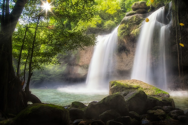Huaw suwat waterval in berg in thailand