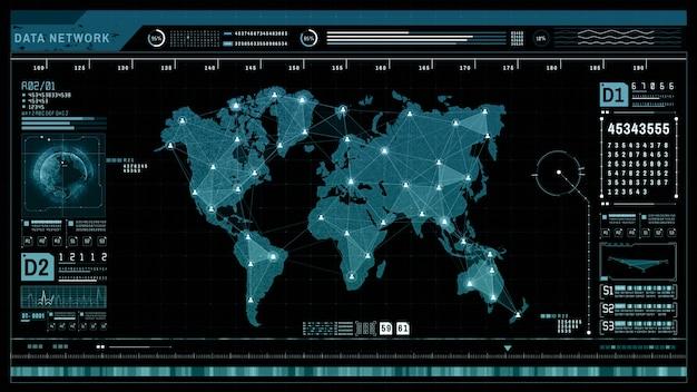 Hud futuristische holografische netwerkverbinding