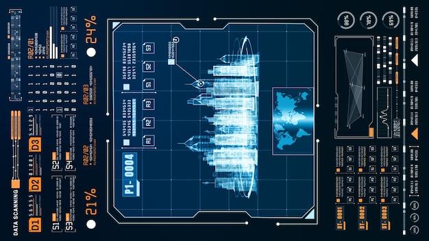 Hud futuristische holografische scan en zoeklocatie smart city