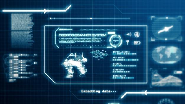 Hud robot scanning systeem mogelijkheid gebruikersinterface computerschermweergave met pixels achtergrond. blauw abstract hologram holografisch technologieconcept. sci-fi. 3d-weergave