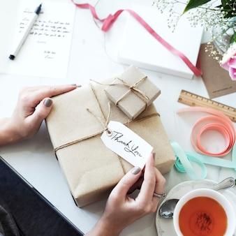 Huidige doos met etiketmarkering