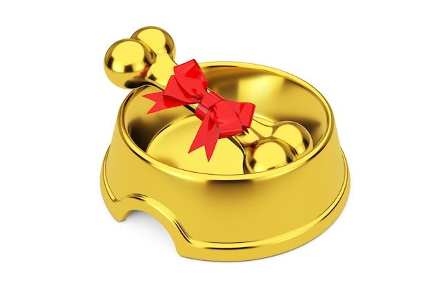 Huidige gouden hond kauwbot verpakt in rood cadeau lint in gouden kom voor hond op een witte achtergrond. 3d-rendering