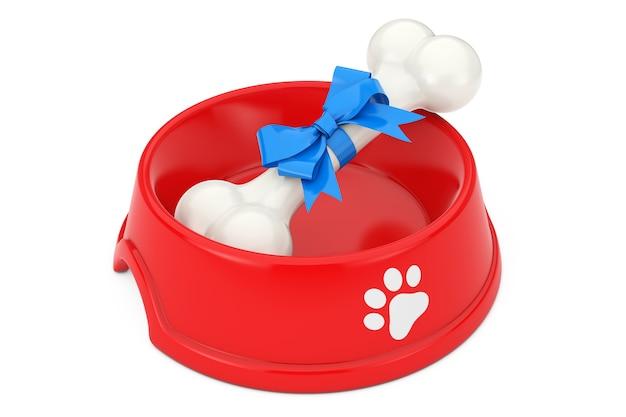 Huidige hond kauwbot verpakt in blauw cadeau lint in rode plastic kom voor hond op een witte achtergrond. 3d-rendering