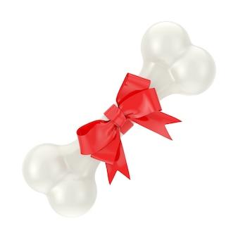 Huidige hond kauwbot verpakt in rood cadeau lint op een witte achtergrond. 3d-rendering