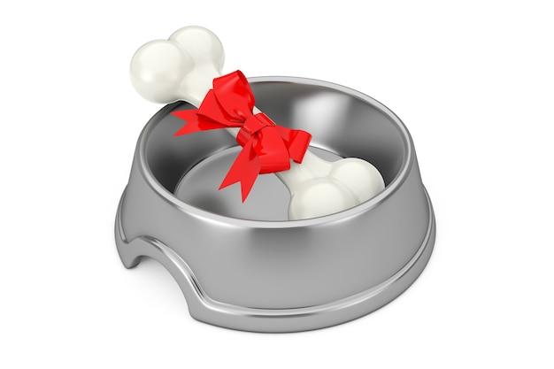 Huidige hond kauwbot verpakt in rood geschenklint in roestvrijstalen kom voor hond op een witte achtergrond. 3d-rendering