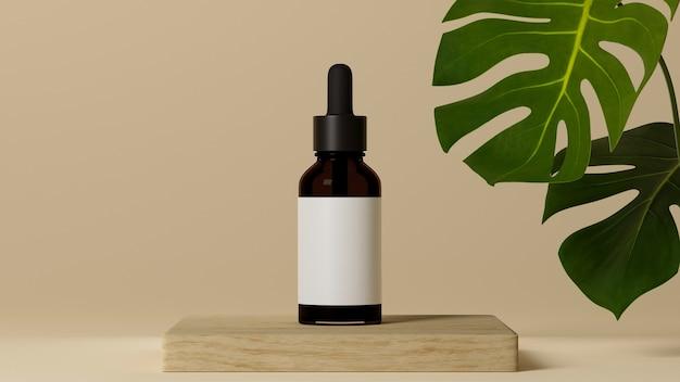 Huidverzorging poster bruin glazen cosmetische fles op houten podium met groen blad op beige achtergrond
