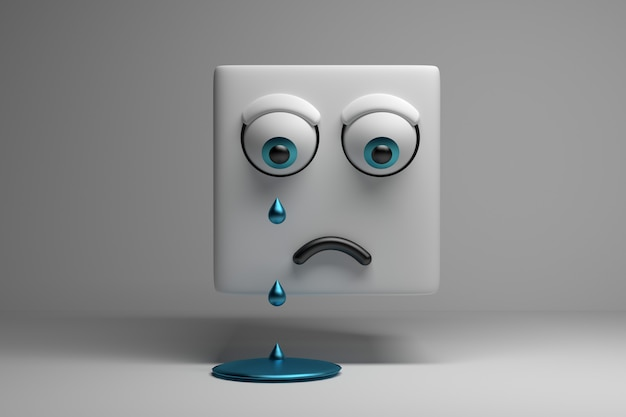 Huilende karakterkubus met droevig gezicht