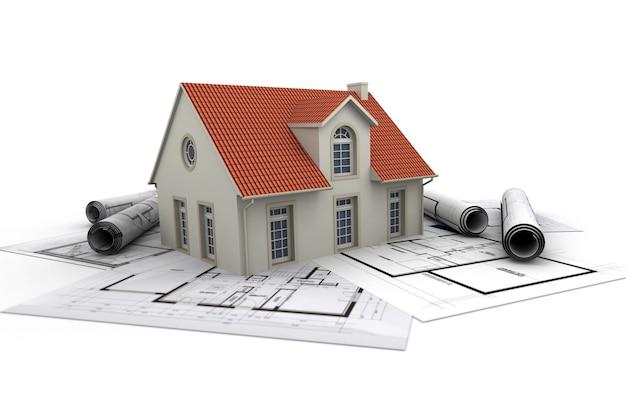 Huis bovenop architectenblauwdrukken