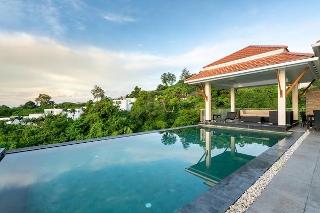 Huis buitenkant ontwerp paviljoen van zwembad villa