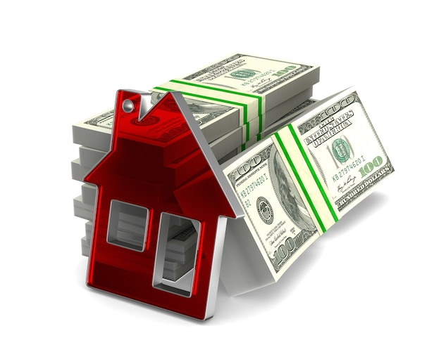 Huis en contant geld op witte ruimte. geïsoleerde 3d-afbeelding