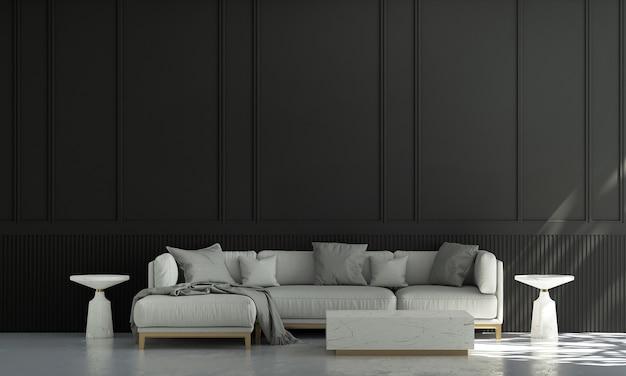 Huis en decoratie en meubels van het interieur van de woonkamer en lege zwarte muurachtergrond