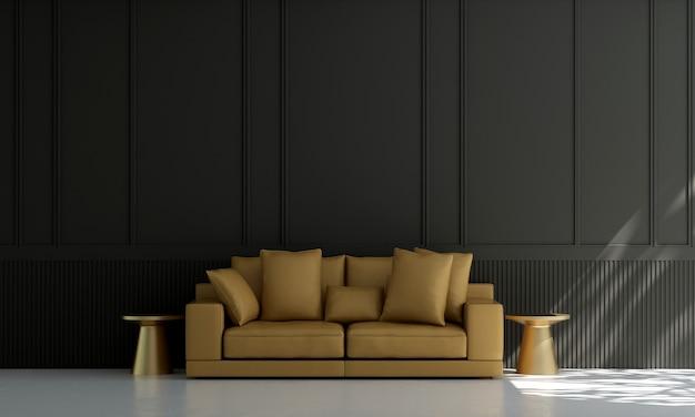 Huis en decoratie en meubels van het interieur van de woonkamer en zwarte muurachtergrond