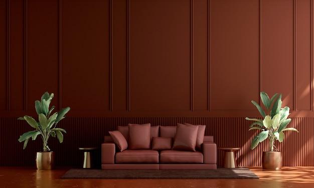 Huis en decoratie en meubels van rood woonkamerinterieur en rode muurpatroonachtergrond