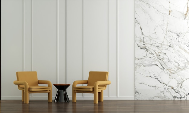 Huis en decoratie en meubels van wit woonkamerinterieur en lege muurachtergrond