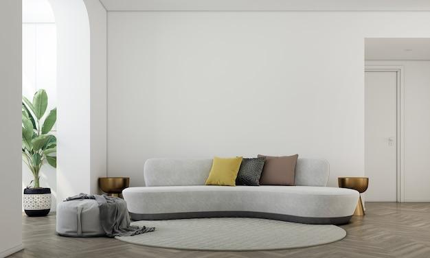 Huis en decoratie mock-up meubels en interieur van moderne woonkamer en lege witte muur textuur achtergrond 3d-rendering