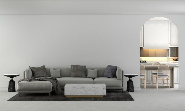 Huis- en decoratiemeubels mock-up interieur van woon- en eetkamer en witte voorraadkast en lege muur textuur achtergrond
