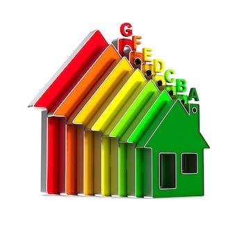 Huis en energiebesparing op witte achtergrond. geïsoleerde 3d-afbeelding
