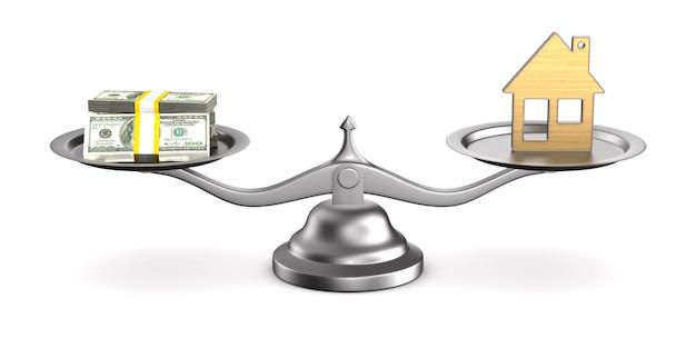 Huis en geld op schalen. geïsoleerde 3d-afbeelding