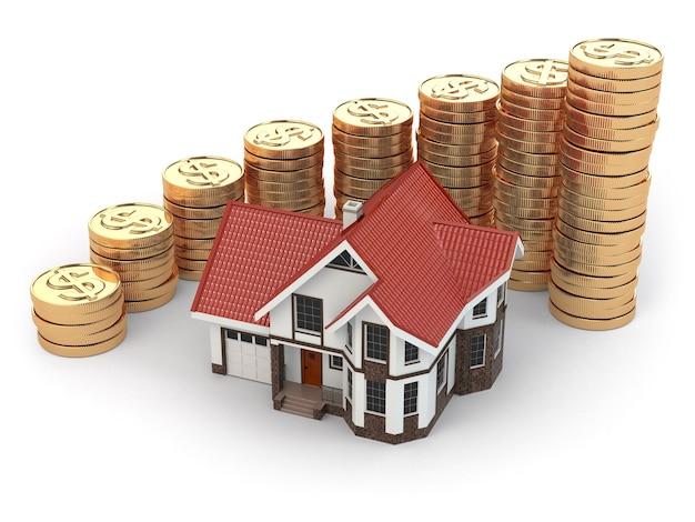 Huis en grafiek van munten. vastgoed stijgt. 3d