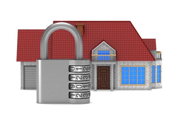 Huis en hangslot. geïsoleerde 3d-weergave