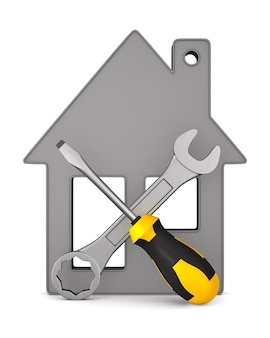 Huis en hulpmiddelen op witte achtergrond. geïsoleerde 3d-afbeelding