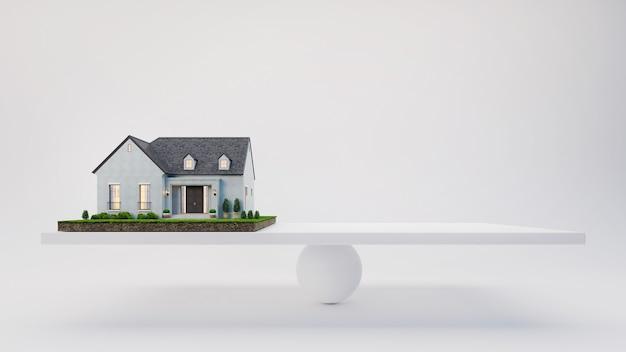 Huis en lege ruimte op schaal in 3d-rendering