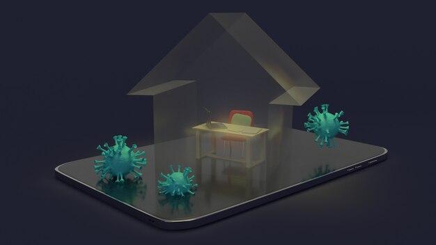 Huis en werkplek op tablet 3d-rendering voor werk vanuit huisinhoud.