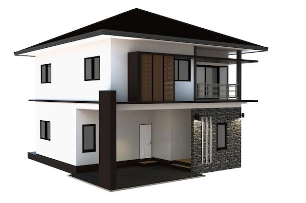 Huis geïsoleerd witte achtergrond