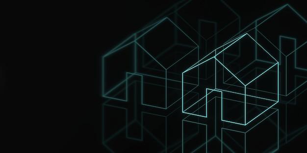 Huis hologram banner donkere geometrie