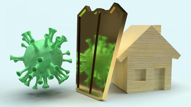 Huis houten en gouden schild voor beschermingsvirus, het 3d teruggeven.