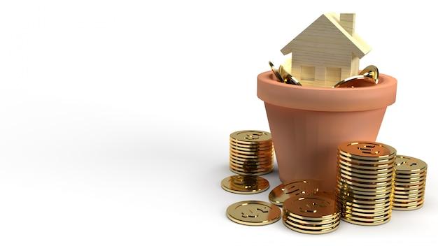 Huis houten stuk speelgoed en gouden muntstukken in installatie het 3d teruggeven voor bezitsinhoud.