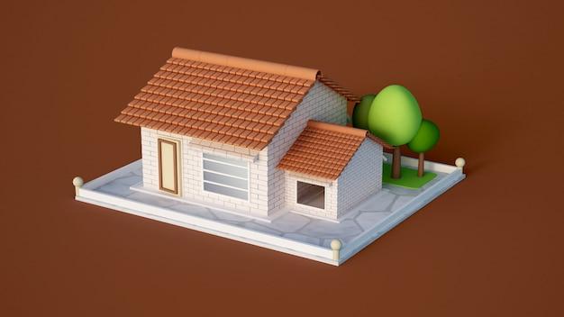 Huis, huisje met tegels van witte baksteen en bomen.