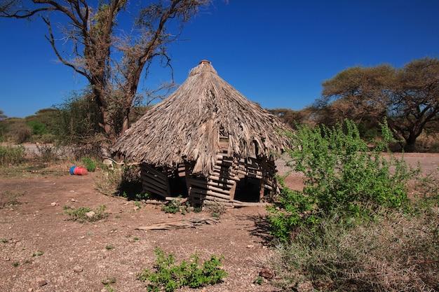 Huis in dorp van bosjesmannen, afrika