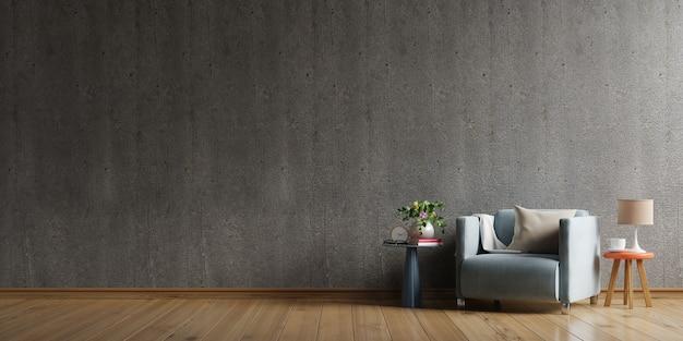 Huis in loftstijl met fauteuil en accessoires in de kamer achter de betonnen muur