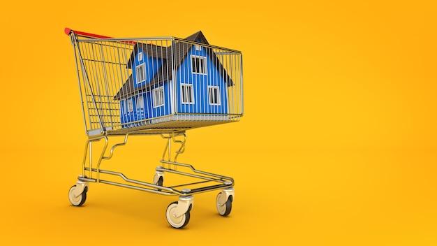 Huis in winkelwagen concept 3d-rendering