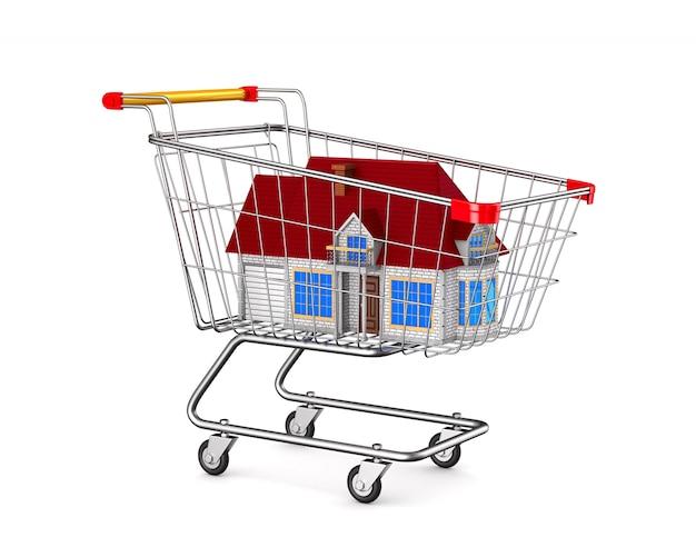 Huis in winkelwagentje op witte ruimte. geïsoleerde 3d-afbeelding