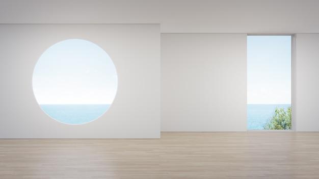 Huis interieur 3d-rendering met uitzicht op zee.