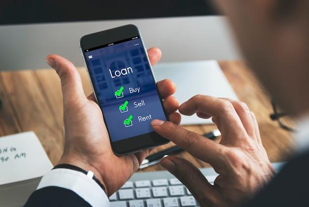 Huis lening onroerend goed verkopen hypotheek concept