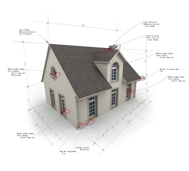 Huis met aantekeningen en afmetingen