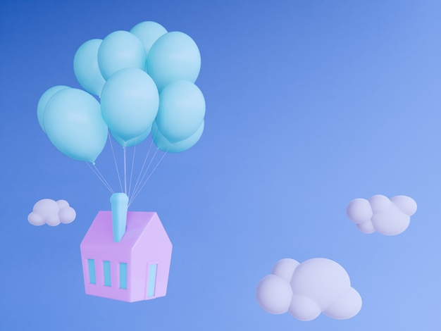 Huis met ballon die in hemel drijven 3d geef achtergrond terug.