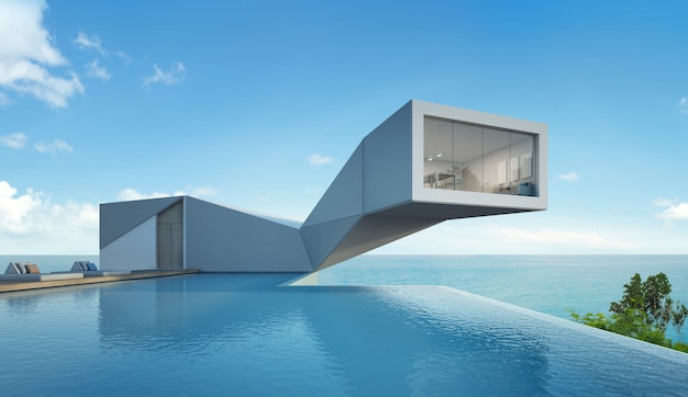 Huis met zeezicht en zwembad in modern design.