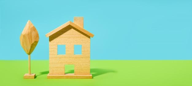 Huis of huis achtergrond. brede banner met kopie ruimte onroerend goed