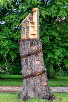 Huis op een boomstam in een tuin