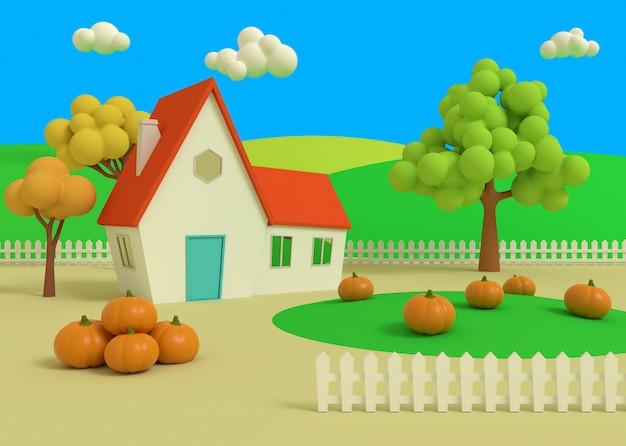 Huis op het gebied van pompoenen op de achtergrond van de herfst priors. 3d-weergave. pittoreske landschap met oogst in cartoon-stijl.