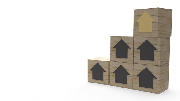 Huis op houten kubus voor eigenschap concept 3d-rendering.
