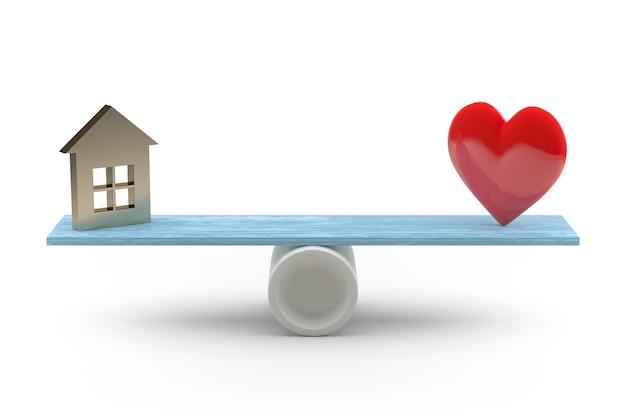 Huis op liefde balanceren op witte achtergrond. 3d-rendering