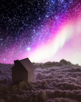 Huis op sneeuw met aurora borealis